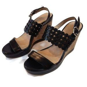 Antonio Melani Black Wedge Heels Sandals Shoes